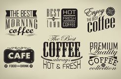 Set of coffee , cafe typographic elements Royalty Free Stock Photo