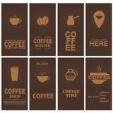 Set coffee cards. Design cards for coffee cafe, restaurant or shop. Set. Vector illustration Royalty Free Illustration