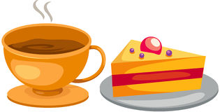 Set coffee cup with cake vector illustration
