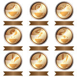 Set of coffee cup icon designs isolated Royalty Free Stock Photos