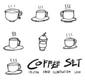 Set of Coffee Cup icon Drawing illustration Hand drawn doodle Sk. Etch line vector royalty free illustration