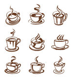 Set of coffee cup in line-art style Stock Image