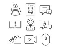 Coffee cup, Vacancy and Comment icons. Coffee vending, Book and Video camera signs. Stock Photo
