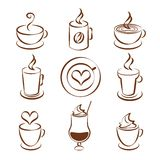 Set of coffee cup vector symbols Royalty Free Stock Photos