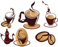 Set of coffee cups. Stylized set of coffee cups Royalty Free Stock Photo