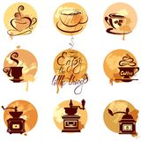Set 2 of coffee cups and coffeemills icons on gunge background, Stock Photo