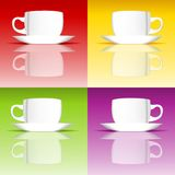Set of coffee cups on colored backgrounds Stock Images