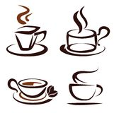 Set of coffee cups icons. Stylized sketch logo Stock Photography