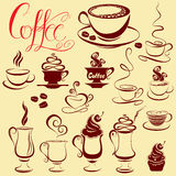 Set of coffee cups icons, stylized sketch symbols Royalty Free Stock Images
