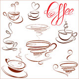 Set of coffee cups icons, stylized sketch symbols  Royalty Free Stock Image