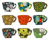 Set of coffee cups with nature prints. Stock Photo