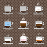 A set of coffee cups with steam Royalty Free Stock Image