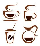 Set of coffee cups vector icons Royalty Free Stock Image
