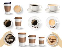 Set of coffee cups on the white background. Set of to go and takeaway paper coffee cups in different sizes and coffee cups on saucers. Objects isolated on the royalty free illustration
