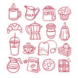 Set of coffee and desserts Stock Image