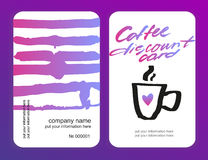 Set of coffee discount cards. template for your design Stock Photo