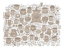 Set of coffee doodle Stock Photos