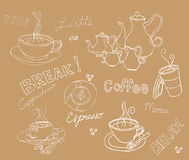 Set of coffee doodle Royalty Free Stock Photo