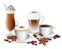 Set of coffee drinks with coffee beans, cinnamon sticks and anise stars Stock Image