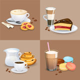 Set of Coffee drinks, sweets and bakery products Royalty Free Stock Photos