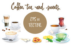 Set of Coffee drinks, sweets and bakery products. Some different illustrations isolated on white background. Vector Illustration Stock Image