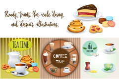 Set of Coffee drinks, sweets and bakery products. Some different illustrations. Vector Illustration Stock Images