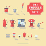 Set Of Coffee Elements and Coffee Accessories. Flat Style Stock Photos