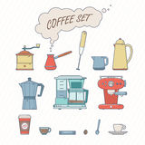 Set Of Coffee Elements and Coffee Accessories. Retro Style Vecto Royalty Free Stock Image