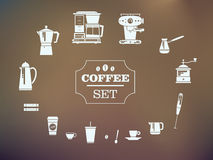 Set Of Coffee Elements and Coffee Accessories. Silhouette Icons. Royalty Free Stock Image