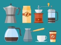 Set of coffee elements in flat style isolated on background. Vector illustration. Royalty Free Stock Photos
