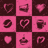 Set of coffee elements and hearts Stock Photos