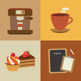 Set of coffee flat design elements Stock Image