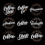 Set of Coffee hand written lettering logo, label, badge, emblem. Stock Photography