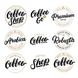 Set of Coffee hand written lettering logo, label, badge, emblem. Royalty Free Stock Photo