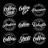 Set of Coffee hand written lettering logo, label, badge, emblem. Royalty Free Stock Photography