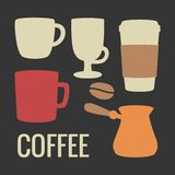 Set coffee icon. Vector flat illustration. For web, info graphics, poster. Set coffee icon. Vector flat illustration. For web, info graphics, poster Royalty Free Stock Photo