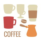 Set coffee icon. Vector flat illustration. For web, info graphics, poster. Royalty Free Stock Photography