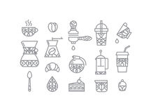 Set Coffee Icons Royalty Free Stock Photos