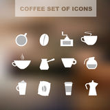 Set of coffee icons. Coffee set of icons on a blurred background. Vector illustration Vector Illustration