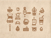 Set coffee icons brown Royalty Free Stock Photos