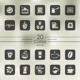 Set of coffee icons. Coffee modern icons for mobile interface on blurred background Royalty Free Stock Photography