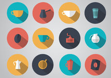 Set of coffee icons flat. Flat design of icons for coffee shops and cafes. Set. Vector illustration Stock Illustration