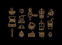 Set coffee icons gold Stock Images