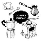 Set of Coffee items. vintage vector illustration. Stock Images