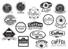 Set of coffee labels, badges and logos for design. Vector illustration royalty free illustration