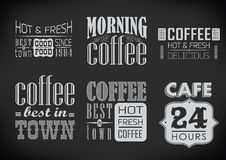Set of coffee labels on chalkboard Stock Photography