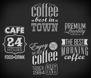 Set of coffee labels on chalkboard Royalty Free Stock Photos