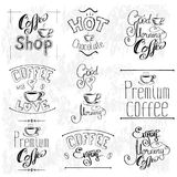 Set Of Coffee Labels. Collection templates .Set of calligraphic and typographic elements styled design, vintage frames. Vector illustration Stock Photo
