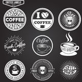 Set of coffee labels, design elements, emblems and Royalty Free Stock Photography