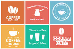 Set of coffee labels. Design elements for coffee shops and cafes. Set of stickers. Vector illustration Royalty Free Illustration